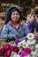 A flower seller at a local market in Bagan.