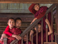 Five young monks at an Inle Lake Monastery.