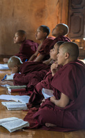 Young monks studying in a monastery.
